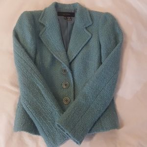 Zara Blue Green Wool Jacket Blazer Women's 6 Med